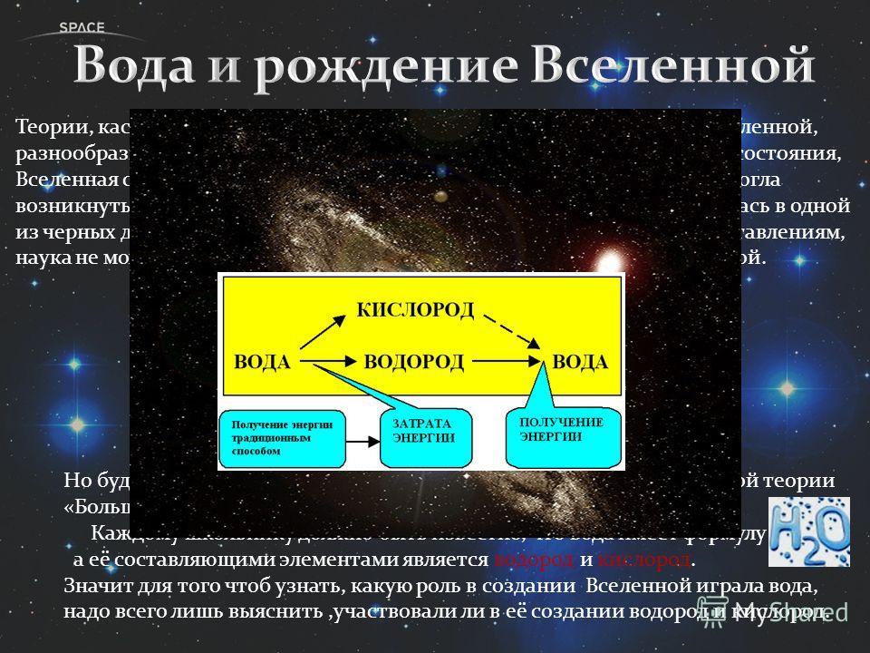 Но будем отталкиваться от наиболее распространённой, современной теории «Большого взрыва» и его последствий. Каждому школьнику должно быть известно, что вода имеет формулу а её составляющими элементами является водород и кислород. Значит для того что