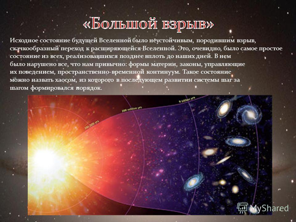 Исходное состояние будущей Вселенной было неустойчивым, породившим взрыв, скачкообразный переход к расширяющейся Вселенной. Это, очевидно, было самое простое состояние из всех, реализовавшихся позднее вплоть до наших дней. В нем было нарушено все, чт