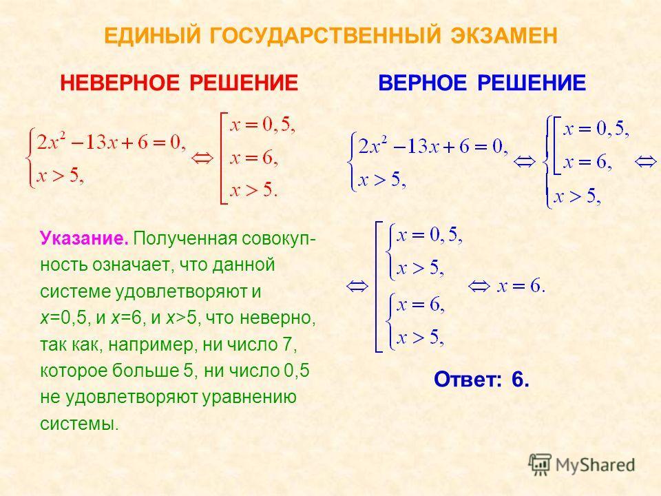 ЕДИНЫЙ ГОСУДАРСТВЕННЫЙ ЭКЗАМЕН НЕВЕРНОЕ РЕШЕНИЕ Указание. Полученная система решений не имеет, так как не может одновременно быть х=0 и х=1,5. ВЕРНОЕ РЕШЕНИЕ Ответ: (0;3); (1,5;0,75).