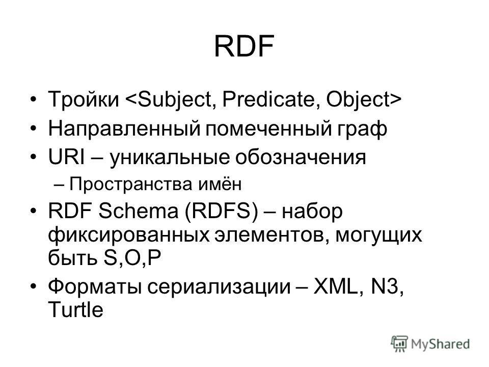 RDF Тройки Направленный помеченный граф URI – уникальные обозначения –Пространства имён RDF Schema (RDFS) – набор фиксированных элементов, могущих быть S,O,P Форматы сериализации – XML, N3, Turtle