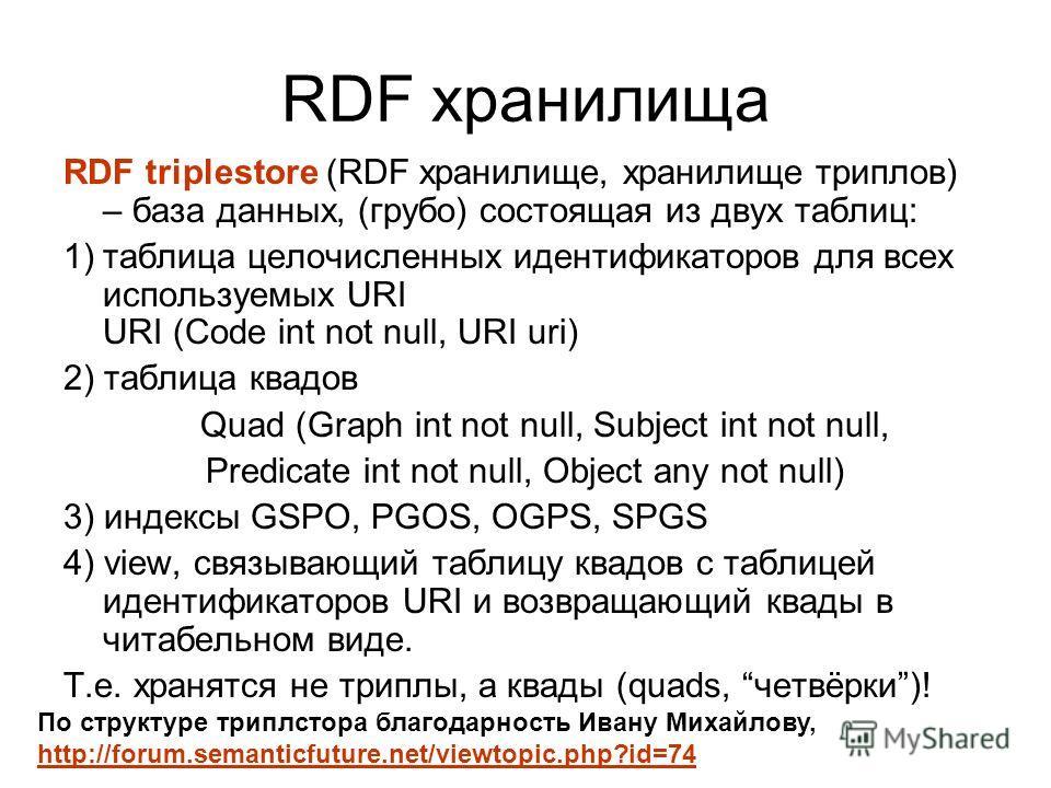 RDF хранилища RDF triplestore (RDF хранилище, хранилище триплов) – база данных, (грубо) состоящая из двух таблиц: 1)таблица целочисленных идентификаторов для всех используемых URI URI (Code int not null, URI uri) 2) таблица квадов Quad (Graph int not