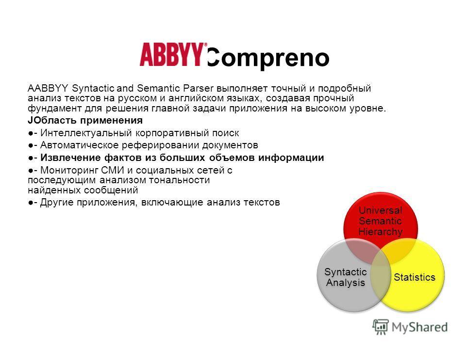 Compreno AABBYY Syntactic and Semantic Parser выполняет точный и подробный анализ текстов на русском и английском языках, создавая прочный фундамент для решения главной задачи приложения на высоком уровне. JОбласть применения - Интеллектуальный корпо