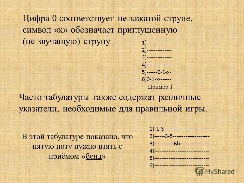 Цифра 0 соответствует не зажатой струне, символ «x» обозначает приглушенную (не звучащую) струну 1)-------------- 2)-------------- 3)-------------- 4)-------------- 5)------0-1-х- 6)0-1-х------- Пример 1 1)-1-3------------------------- 2)------3-5---