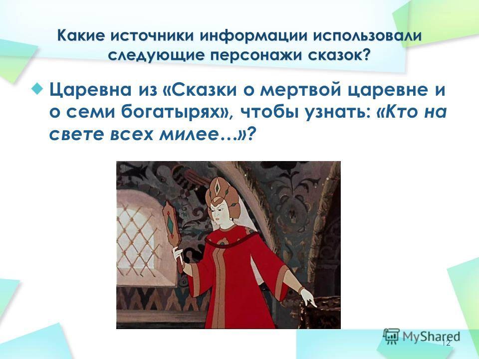 Царевна из «Сказки о мертвой царевне и о семи богатырях», чтобы узнать: «Кто на свете всех милее…»? 12