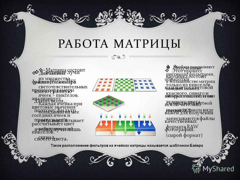 РАБОТА МАТРИЦЫ Матрица состоит из множества светочувствительных ячеек – пикселов. Каждая ячейка при попадании на нее света вырабатывает электрический сигнал. Ячейки покрывают цветными фильтрами, в большинстве матриц каждый пиксел покрыт в соответстви