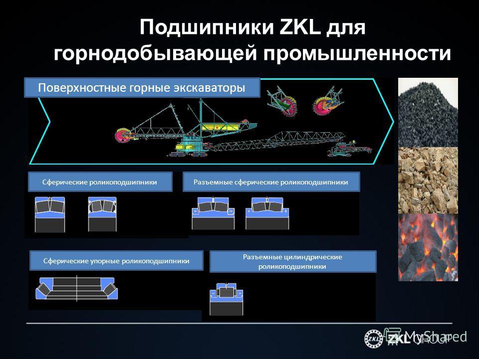 Подшипники ZKL для горнодобывающей промышленности Поверхностные горные экскаваторы Сферические роликоподшипники Разъемные сферические роликоподшипники Сферические упорные роликоподшипники Разъемные цилиндрические роликоподшипники