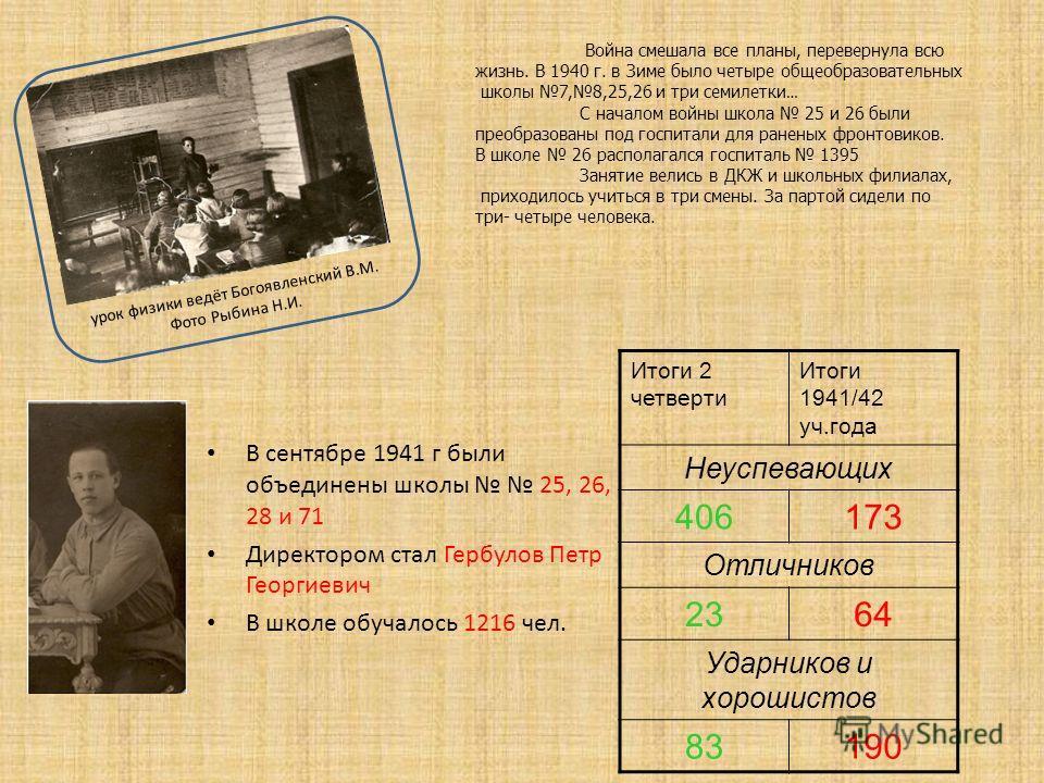 В сентябре 1941 г были объединены школы 25, 26, 28 и 71 Директором стал Гербулов Петр Георгиевич В школе обучалось 1216 чел. Итоги 2 четверти Итоги 1941/42 уч.года Неуспевающих 406173 Отличников 2364 Ударников и хорошистов 83190 Война смешала все пла