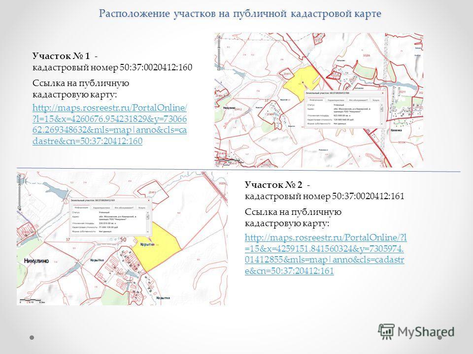 Расположение участков на публичной кадастровой карте Участок 1 - кадастровый номер 50:37:0020412:160 http://maps.rosreestr.ru/PortalOnline/ ?l=15&x=4260676.954231829&y=73066 62.269348632&mls=map|anno&cls=ca dastre&cn=50:37:20412:160 Ссылка на публичн