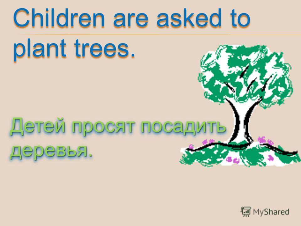 Children are asked to plant trees. Детей просят посадить деревья.