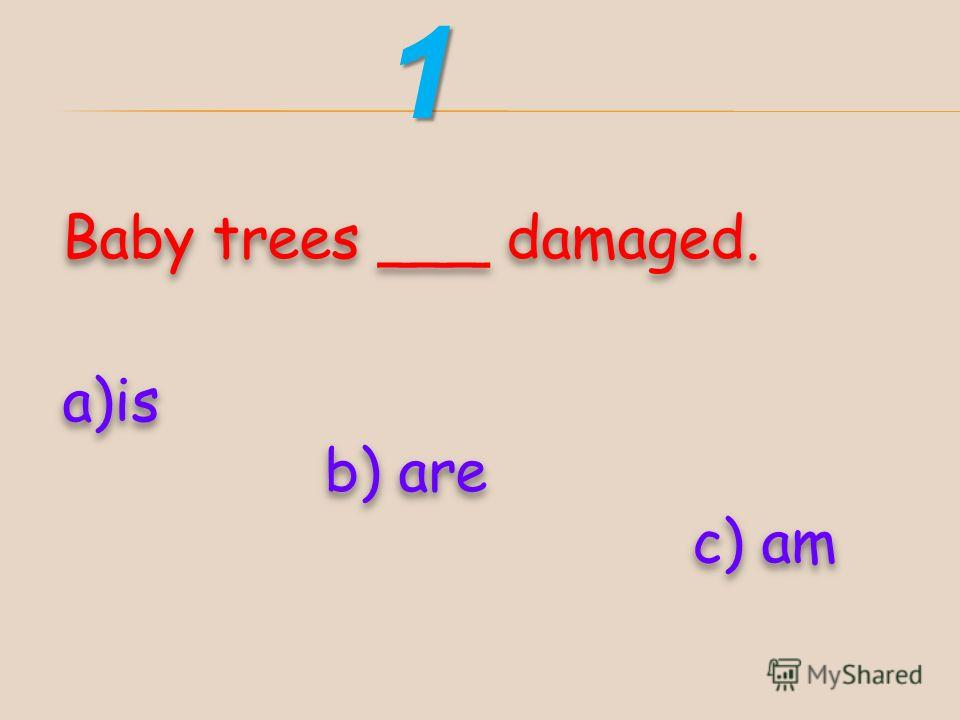 Baby trees ___ damaged. a)is b) are c) am Baby trees ___ damaged. a)is b) are c) am1