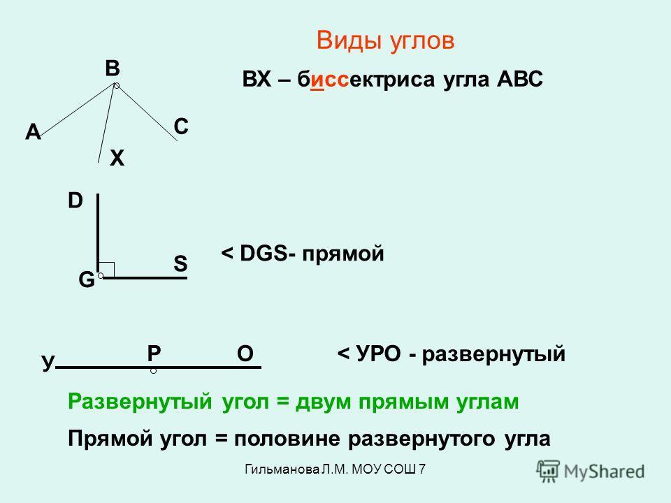 Гильманова Л.М. МОУ СОШ 7 Виды углов А В С Х ВХ – биссектриса угла АВС D G S < DGS- прямой У РО< УРО - развернутый Развернутый угол = двум прямым углам Прямой угол = половине развернутого угла