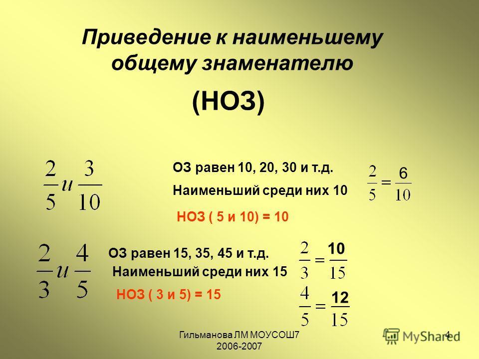 Гильманова ЛМ МОУСОШ7 2006-2007 4 Приведение к наименьшему общему знаменателю (НОЗ) ОЗ равен 10, 20, 30 и т.д. Наименьший среди них 10 НОЗ ( 5 и 10) = 10 6 ОЗ равен 15, 35, 45 и т.д. Наименьший среди них 15 НОЗ ( 3 и 5) = 15 10 12