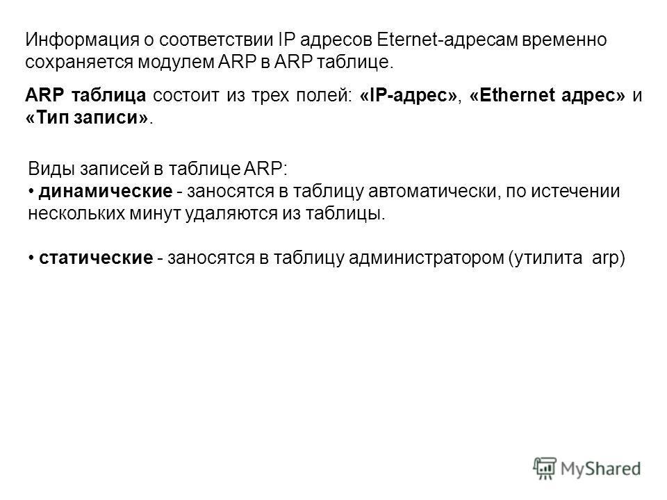 Информация о соответствии IP адресов Eternet-адресам временно сохраняется модулем ARP в ARP таблице. ARP таблица состоит из трех полей: «IP-адрес», «Ethernet адрес» и «Тип записи». Виды записей в таблице ARP: динамические - заносятся в таблицу автома