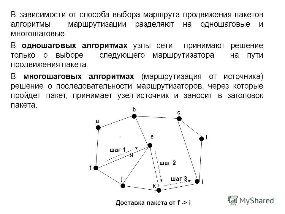 В зависимости от способа выбора маршрута продвижения пакетов алгоритмы маршрутизации разделяют на одношаговые и многошаговые. В одношаговых алгоритмах узлы сети принимают решение только о выборе следующего маршрутизатора на пути продвижения пакета. В