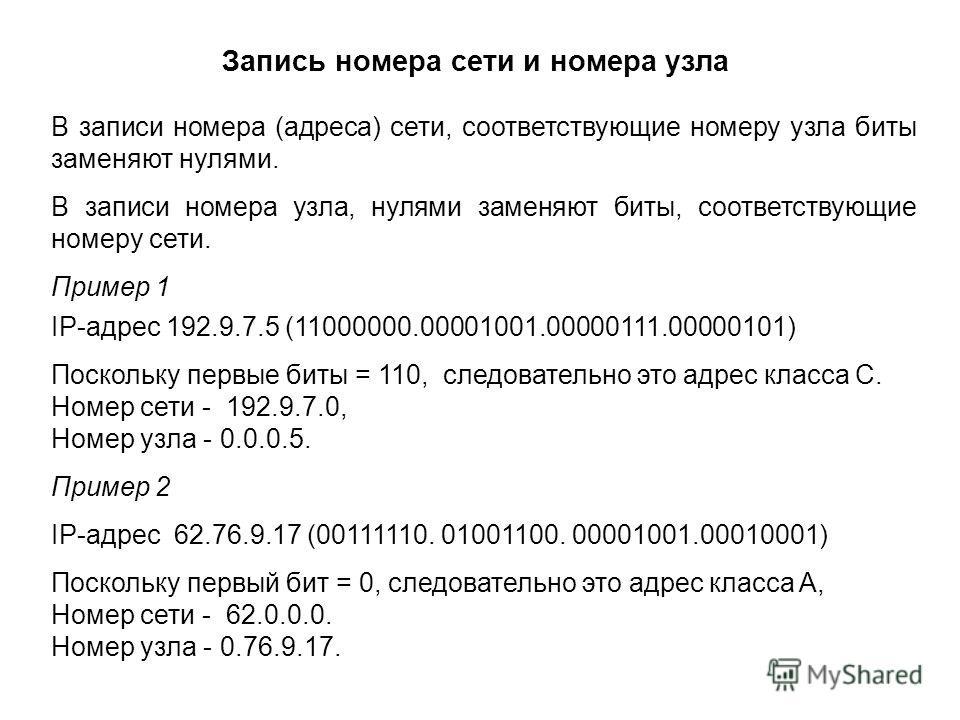 В записи номера (адреса) сети, соответствующие номеру узла биты заменяют нулями. В записи номера узла, нулями заменяют биты, соответствующие номеру сети. Пример 1 IP-адрес 192.9.7.5 (11000000.00001001.00000111.00000101) Поскольку первые биты = 110, с