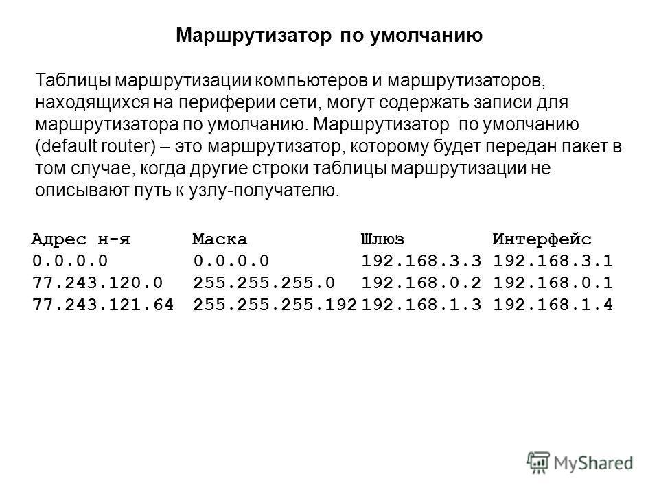 Таблицы маршрутизации компьютеров и маршрутизаторов, находящихся на периферии сети, могут содержать записи для маршрутизатора по умолчанию. Маршрутизатор по умолчанию (default router) – это маршрутизатор, которому будет передан пакет в том случае, ко