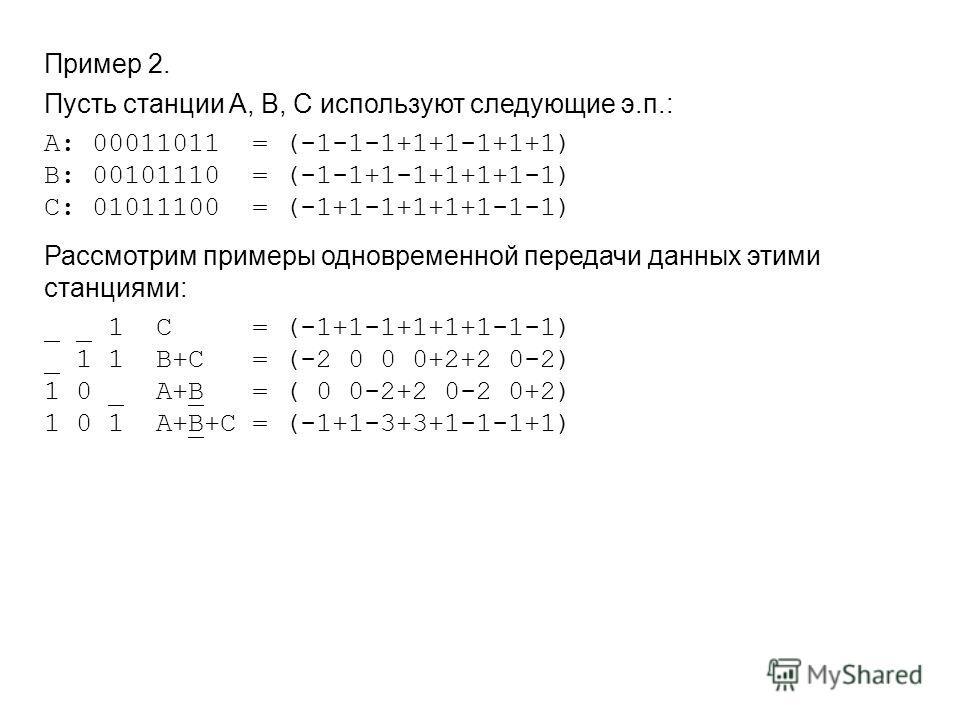 Пример 2. Пусть станции A, B, C используют следующие э.п.: A: 00011011 = (-1-1-1+1+1-1+1+1) B: 00101110 = (-1-1+1-1+1+1+1-1) C: 01011100 = (-1+1-1+1+1+1-1-1) Рассмотрим примеры одновременной передачи данных этими станциями: _ _ 1 С = (-1+1-1+1+1+1-1-