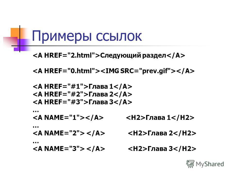 Ссылки LINK – в заголовке A – в теле (anchor) Атрибуты A: name, id href target type rel, rev charset