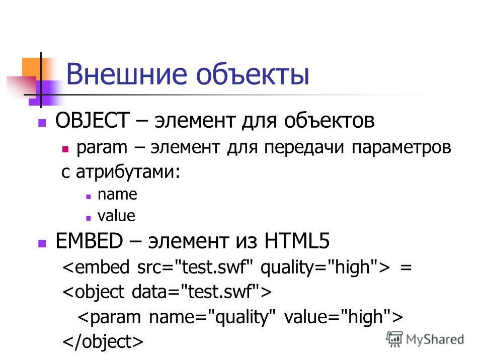 Изображения, внешние объекты IMG – изображение APPLET – java-апплет IFRAME – встроенный фрейм OBJECT – общий элемент для объектов Атрибуты элемента OBJECT: data type Содержимое OBJECT – альтернативное представление объекта