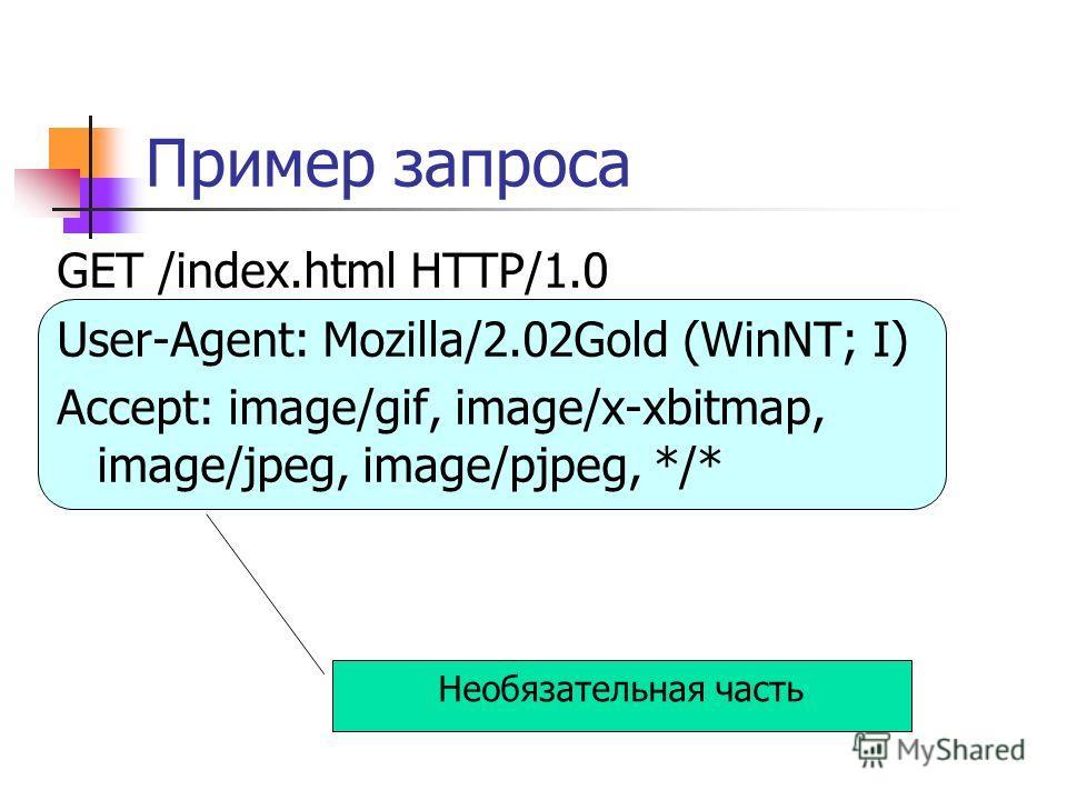 Необязательная часть Пример запроса GET /index.html HTTP/1.0 User-Agent: Mozilla/2.02Gold (WinNT; I) Accept: image/gif, image/x-xbitmap, image/jpeg, image/pjpeg, */*