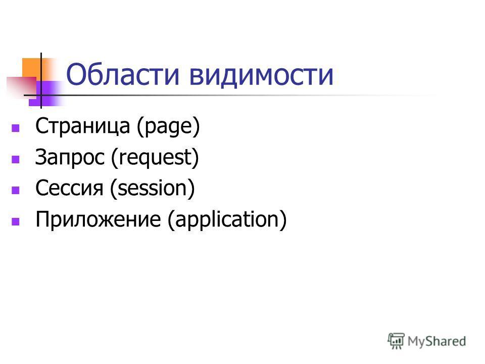 Области видимости Страница (page) Запрос (request) Сессия (session) Приложение (application)