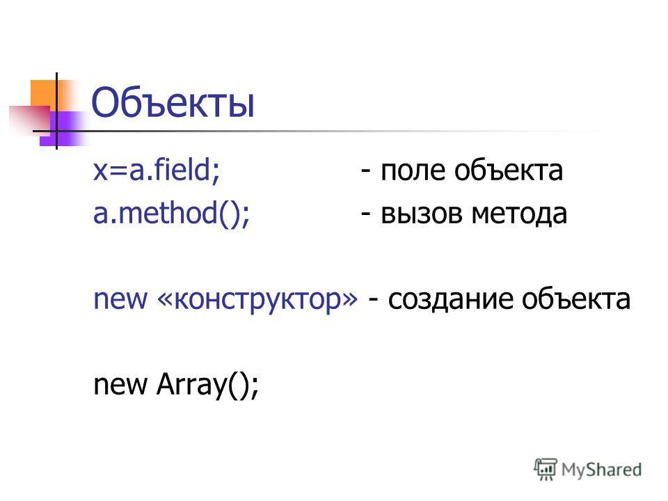 Объекты x=a.field;- поле объекта a.method();- вызов метода new «конструктор» - создание объекта new Array();