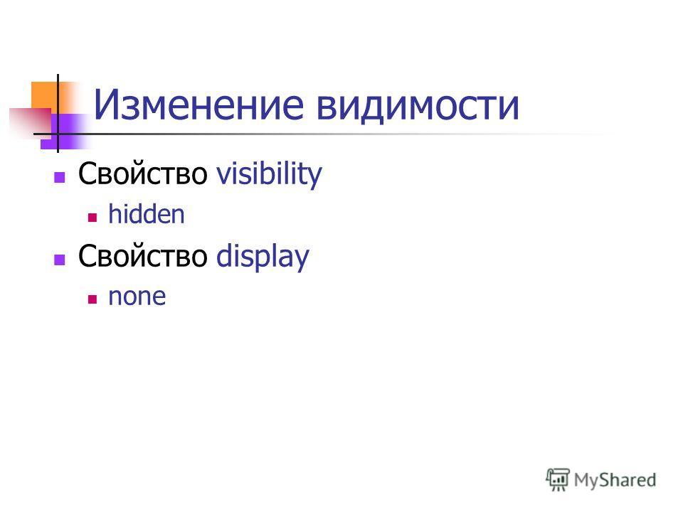 Изменение видимости Свойство visibility hidden Свойство display none