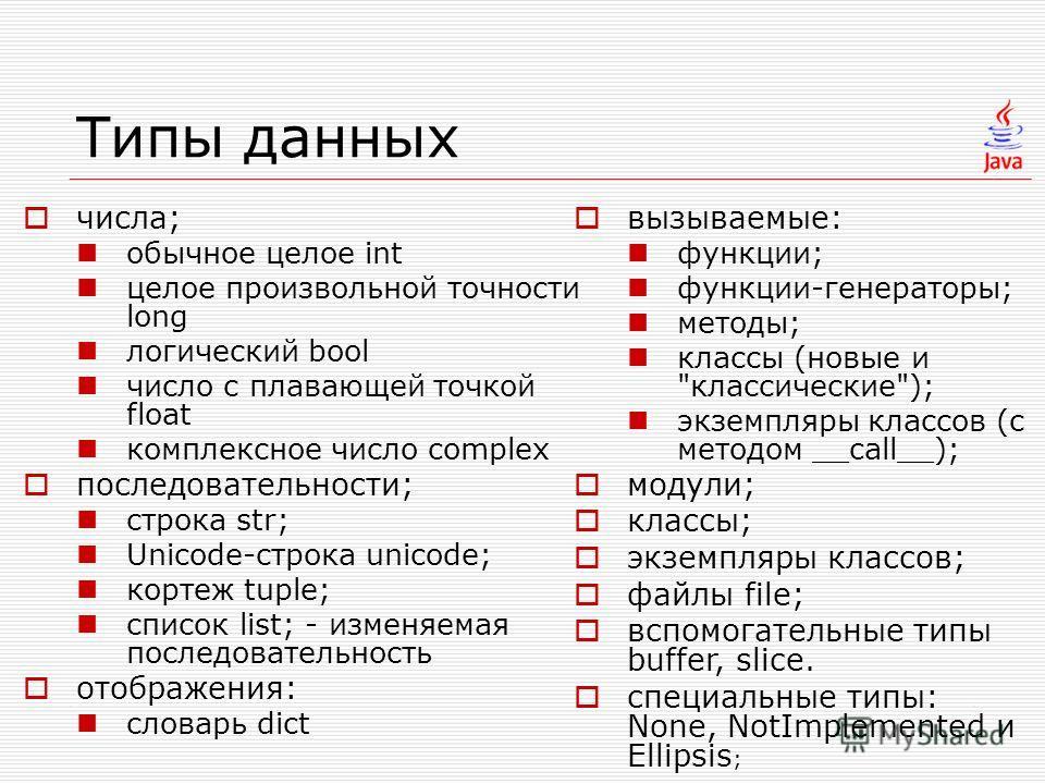 Типы данных числа; обычное целое int целое произвольной точности long логический bool число с плавающей точкой float комплексное число complex последовательности; строка str; Unicode-строка unicode; кортеж tuple; список list; - изменяемая последовате