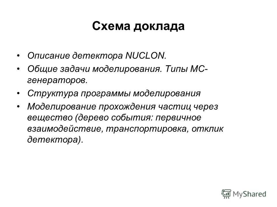 Схема доклада Описание детектора NUCLON. Общие задачи моделирования. Типы MC- генераторов. Структура программы моделирования Моделирование прохождения частиц через вещество (дерево события: первичное взаимодействие, транспортировка, отклик детектора)