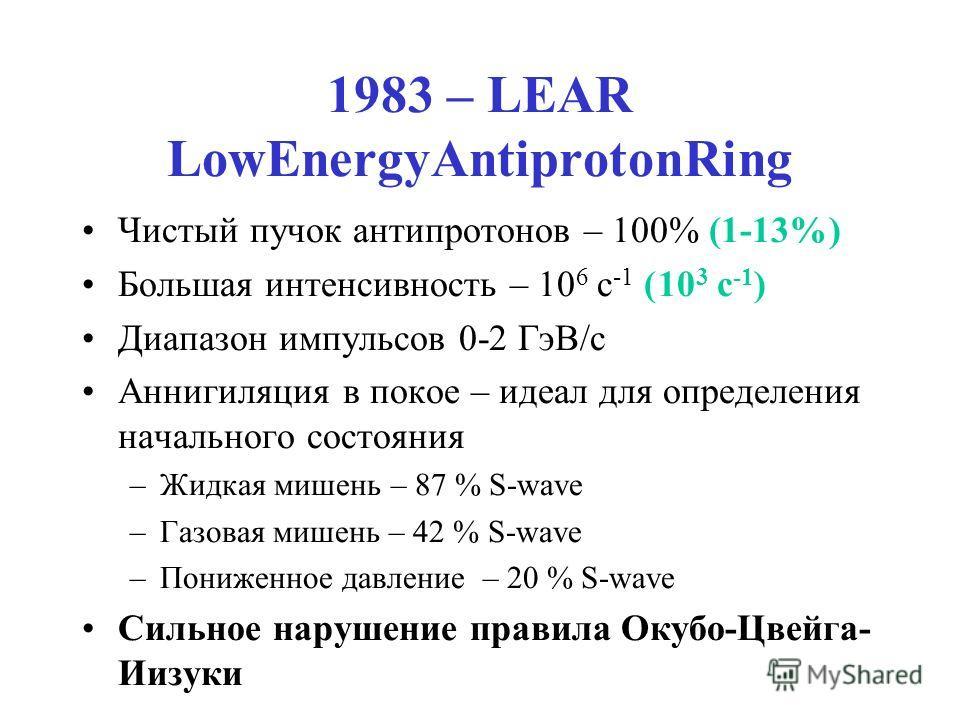 1983 – LEAR LowEnergyAntiprotonRing Чистый пучок антипротонов – 100% (1-13%) Большая интенсивность – 10 6 c -1 (10 3 c -1 ) Диапазон импульсов 0-2 ГэВ/c Аннигиляция в покое – идеал для определения начального состояния –Жидкая мишень – 87 % S-wave –Га