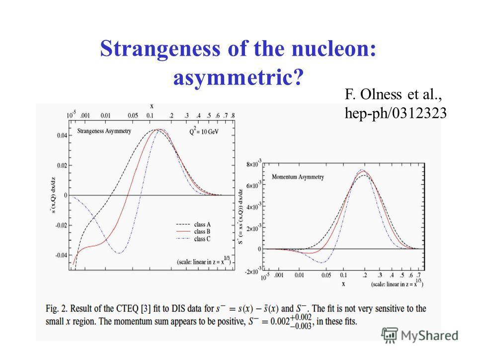 Strangeness of the nucleon: asymmetric? F. Olness et al., hep-ph/0312323
