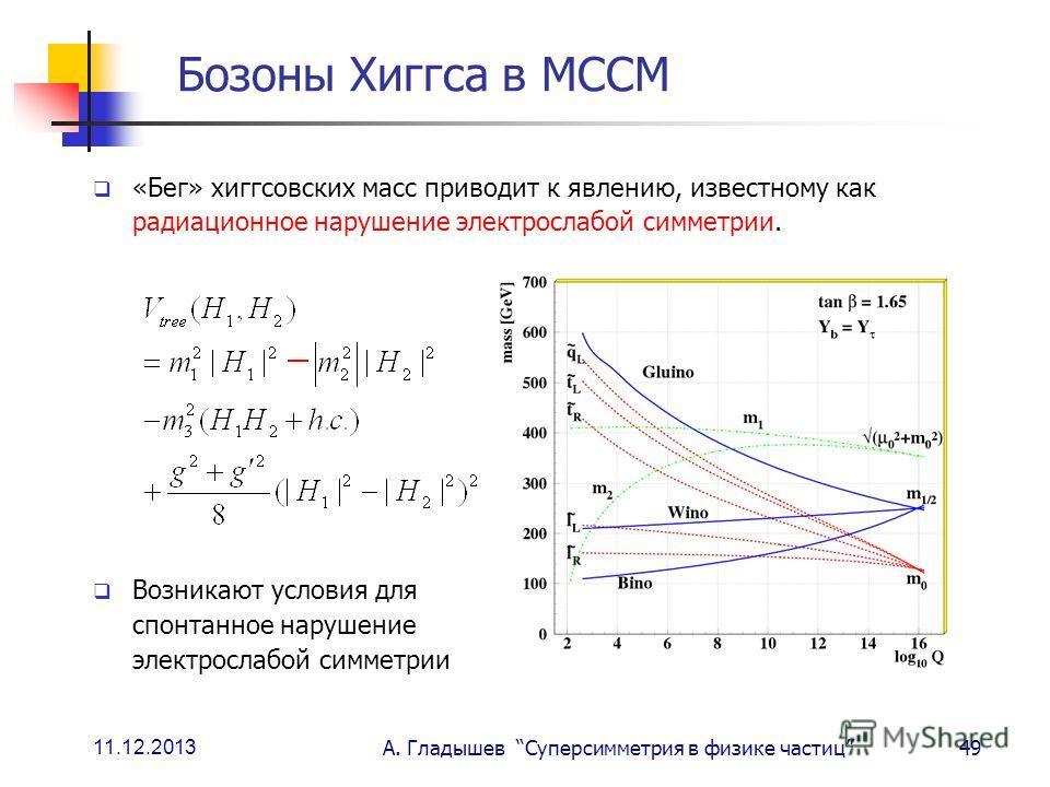 11.12.2013 А. Гладышев Суперсимметрия в физике частиц49 Бозоны Хиггса в МССМ «Бег» хиггсовских масс приводит к явлению, известному как радиационное нарушение электрослабой симметрии. Возникают условия для спонтанное нарушение электрослабой симметрии