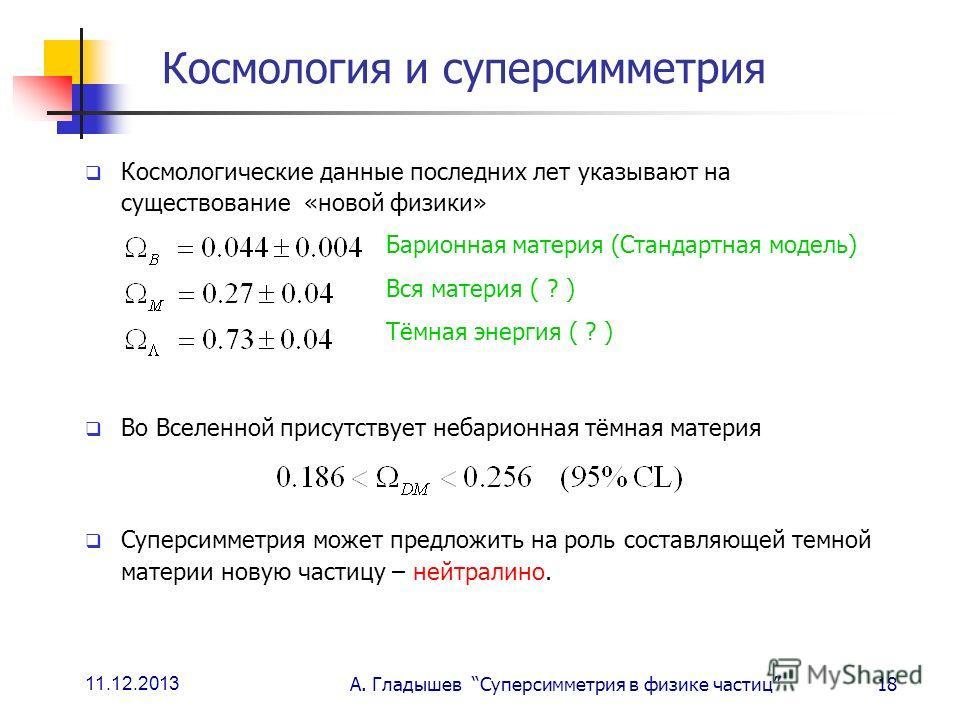 11.12.2013 А. Гладышев Суперсимметрия в физике частиц18 Космология и суперсимметрия Космологические данные последних лет указывают на существование «новой физики» Во Вселенной присутствует небарионная тёмная материя Суперсимметрия может предложить на
