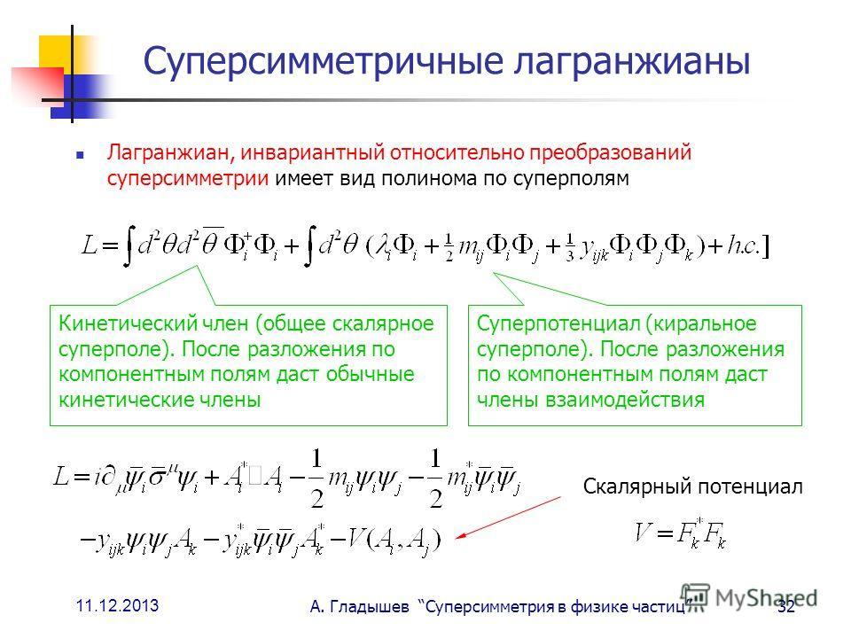 11.12.2013 А. Гладышев Суперсимметрия в физике частиц32 Суперсимметричные лагранжианы Лагранжиан, инвариантный относительно преобразований суперсимметрии имеет вид полинома по суперполям Кинетический член (общее скалярное суперполе). После разложения