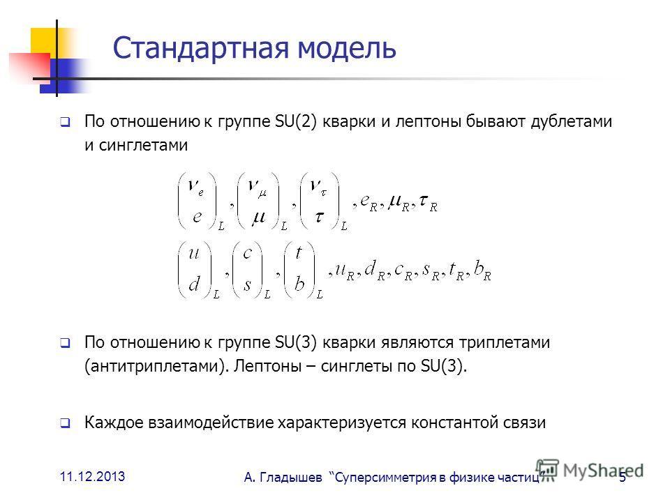 11.12.2013 А. Гладышев Суперсимметрия в физике частиц5 Стандартная модель По отношению к группе SU(2) кварки и лептоны бывают дублетами и синглетами По отношению к группе SU(3) кварки являются триплетами (антитриплетами). Лептоны – синглеты по SU(3).