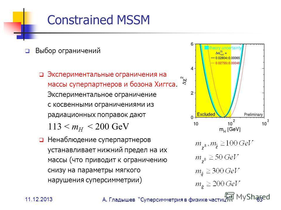 11.12.2013 А. Гладышев Суперсимметрия в физике частиц63 Constrained MSSM Выбор ограничений Экспериментальные ограничения на массы суперпартнеров и бозона Хиггса. Экспериментальное ограничение с косвенными ограничениями из радиационных поправок дают 1