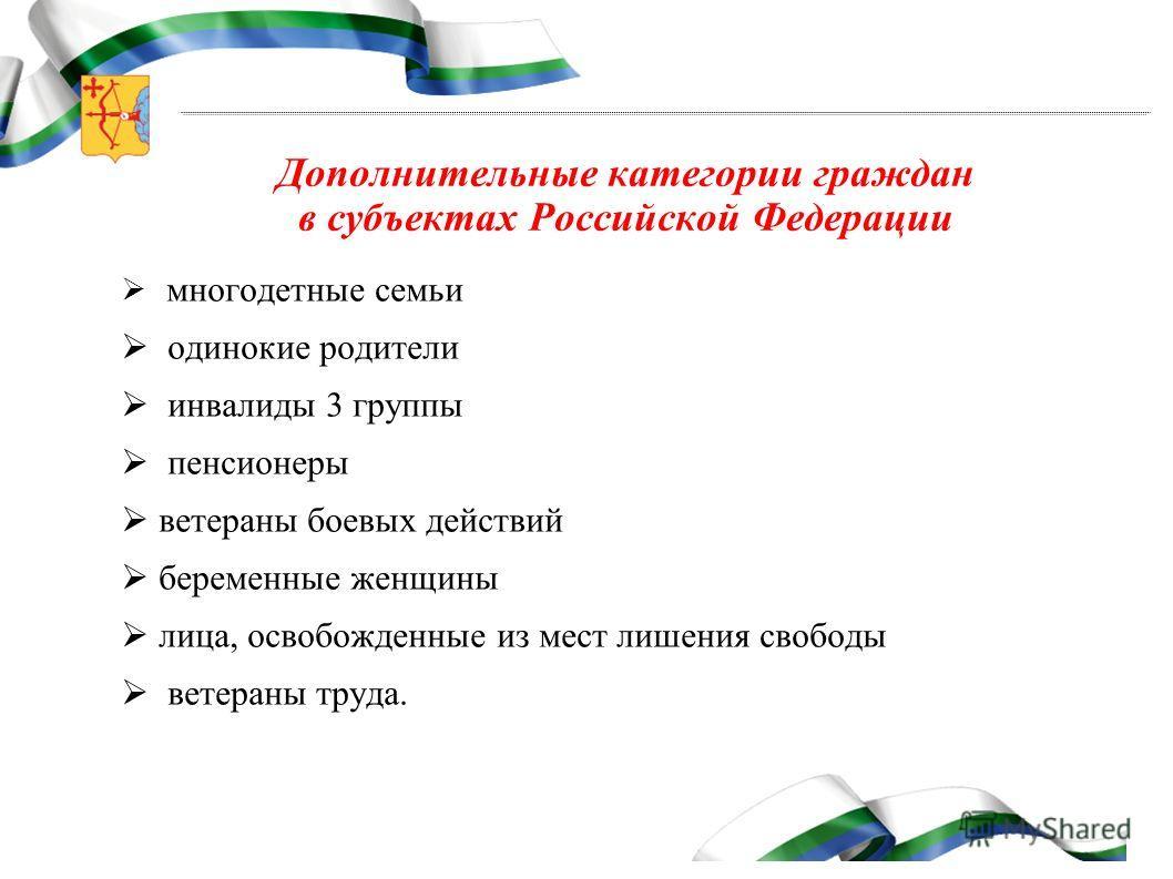Дополнительные категории граждан в субъектах Российской Федерации многодетные семьи одинокие родители инвалиды 3 группы пенсионеры ветераны боевых действий беременные женщины лица, освобожденные из мест лишения свободы ветераны труда.
