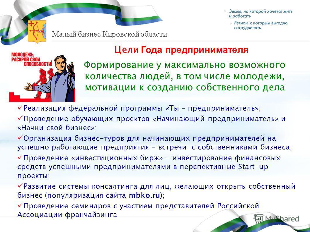 Малый бизнес Кировской области Цели Года предпринимателя Формирование у максимально возможного количества людей, в том числе молодежи, мотивации к созданию собственного дела Реализация федеральной программы «Ты – предприниматель»; Проведение обучающи