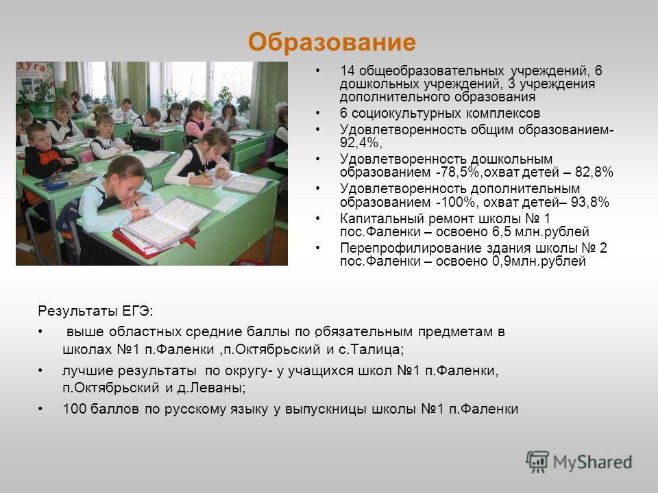 Образование 14 общеобразовательных учреждений, 6 дошкольных учреждений, 3 учреждения дополнительного образования 6 социокультурных комплексов Удовлетворенность общим образованием- 92,4%, Удовлетворенность дошкольным образованием -78,5%,охват детей –