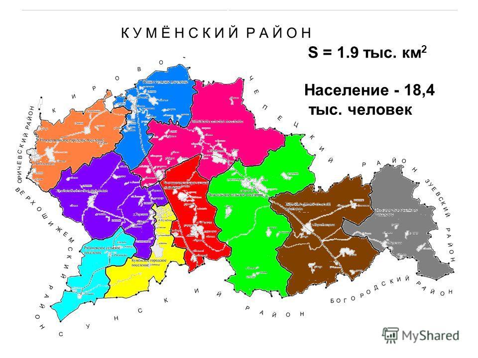 S = 1.9 тыс. км 2 Население - 18,4 тыс. человек