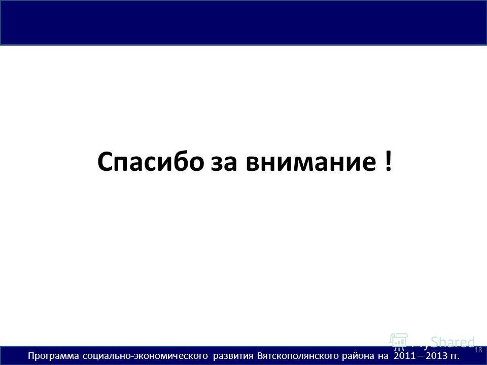 Программа социально-экономического развития Вятскополянского района на 2011 – 2013 гг. Спасибо за внимание ! 18