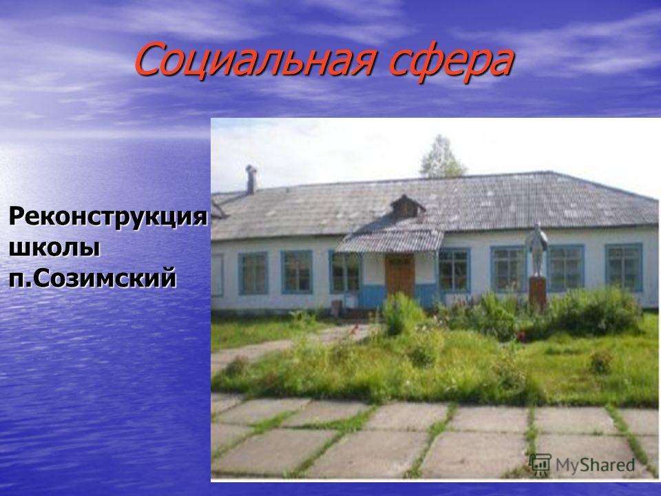 Социальная сфера Реконструкция школы п.Созимский