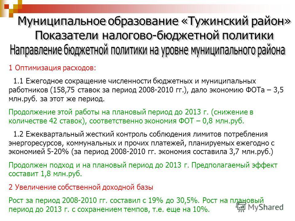 1 Оптимизация расходов: 1.1 Ежегодное сокращение численности бюджетных и муниципальных работников (158,75 ставок за период 2008-2010 гг.), дало экономию ФОТа – 3,5 млн.руб. за этот же период. Продолжение этой работы на плановый период до 2013 г. (сни