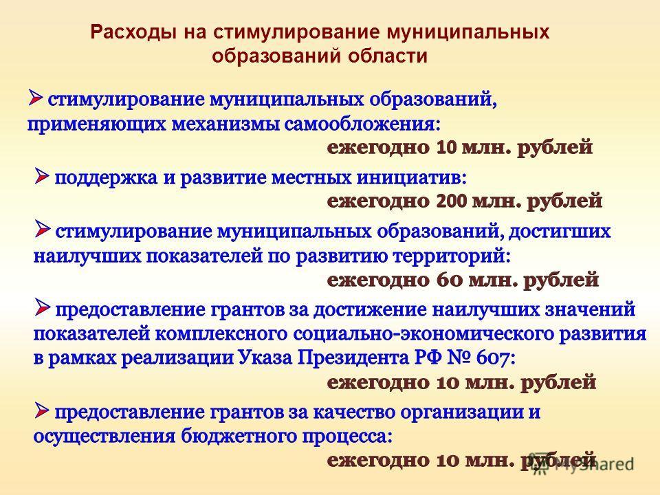 Расходы на стимулирование муниципальных образований области