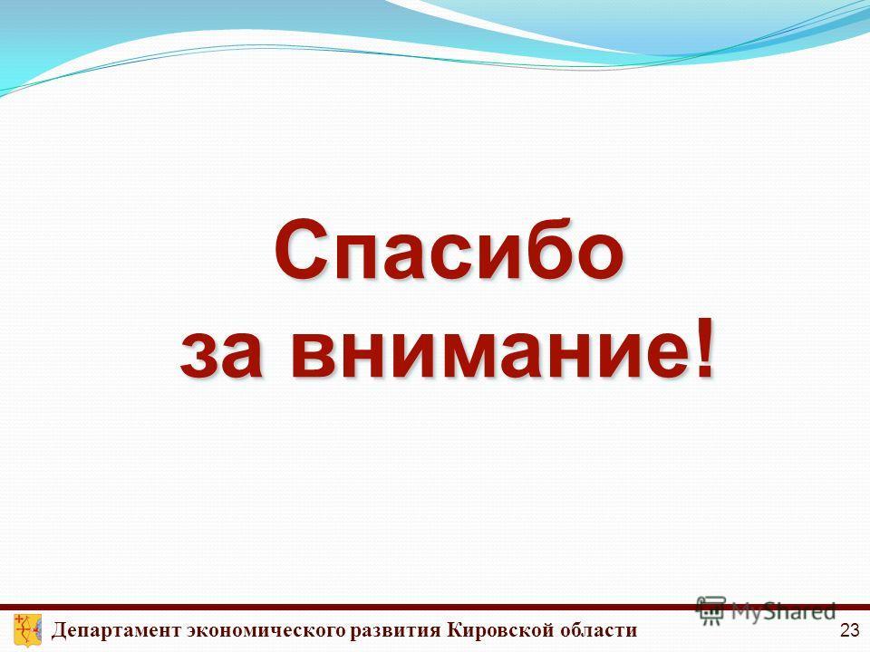 Спасибо за внимание! Спасибо Департамент экономического развития Кировской области 23