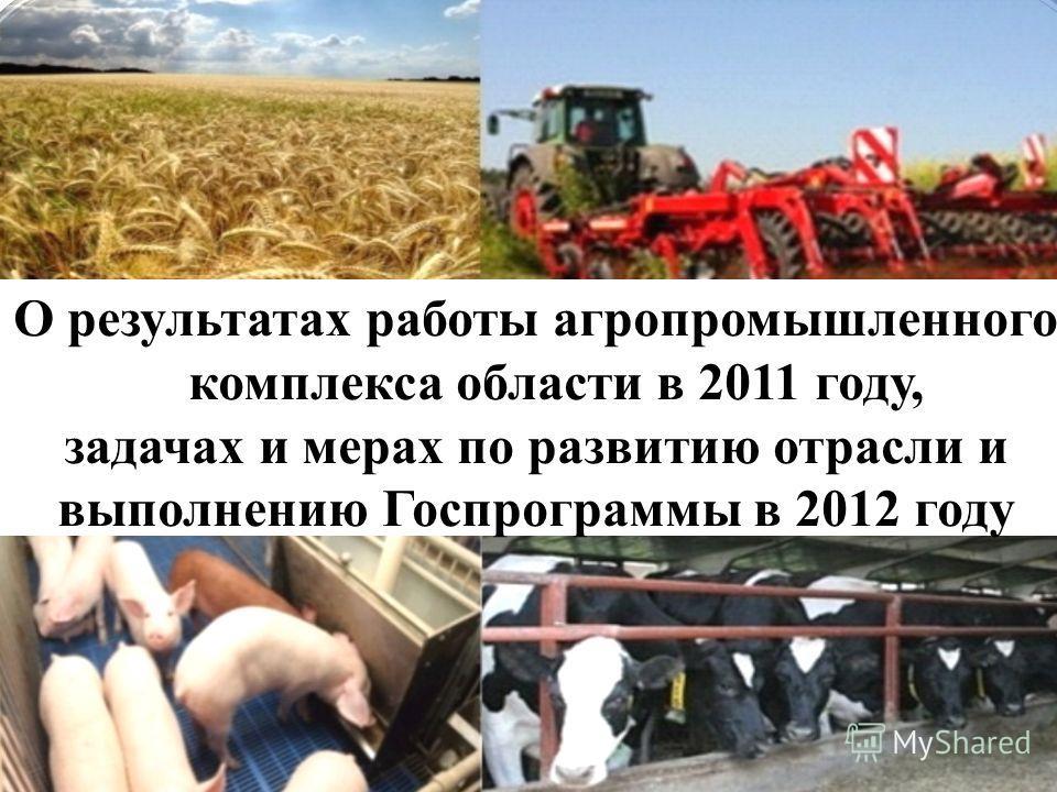 О результатах работы агропромышленного комплекса области в 2011 году, задачах и мерах по развитию отрасли и выполнению Госпрограммы в 2012 году
