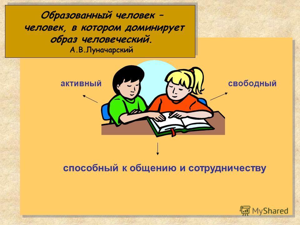 Образованный человек – человек, в котором доминирует образ человеческий. А.В.Луначарский активныйсвободный способный к общению и сотрудничеству