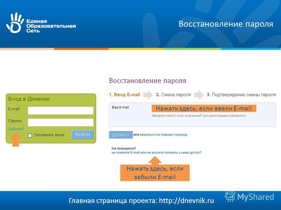 Главная страница проекта: http://dnevnik.ru Восстановление пароля Нажать здесь, если забыли E-mail Нажать здесь, если ввели E-mail