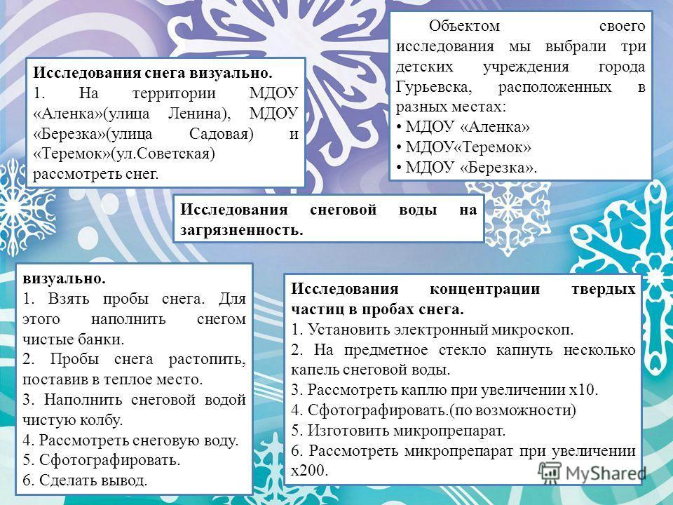 Объектом своего исследования мы выбрали три детских учреждения города Гурьевска, расположенных в разных местах: МДОУ «Аленка» МДОУ«Теремок» МДОУ «Березка». Исследования снега визуально. 1. На территории МДОУ «Аленка»(улица Ленина), МДОУ «Березка»(ули