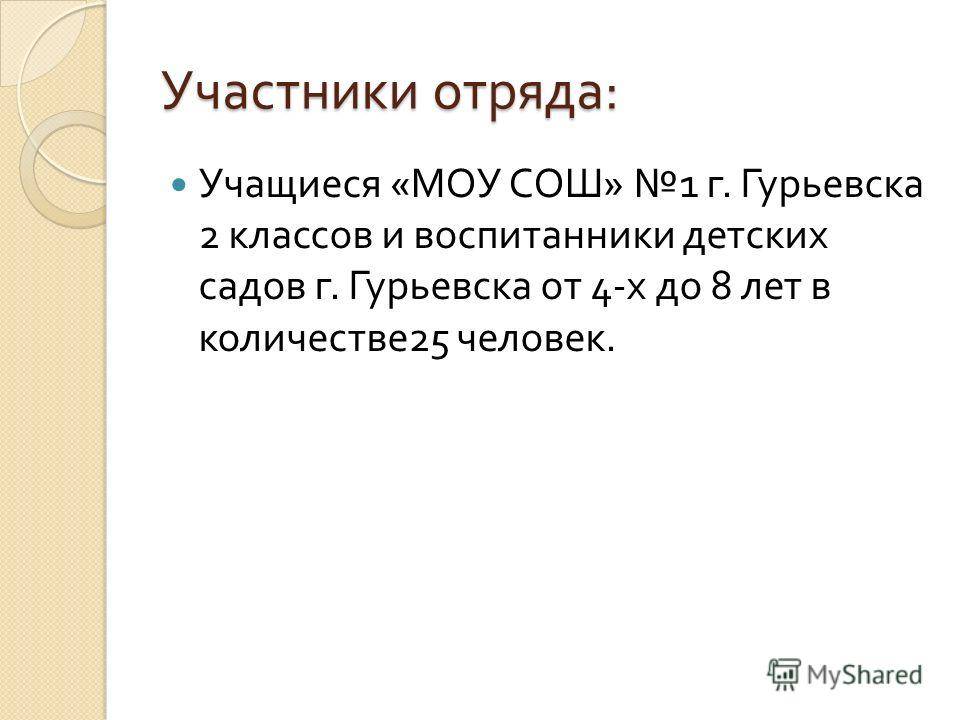 Участники отряда : Учащиеся « МОУ СОШ » 1 г. Гурьевска 2 классов и воспитанники детских садов г. Гурьевска от 4- х до 8 лет в количестве 25 человек.